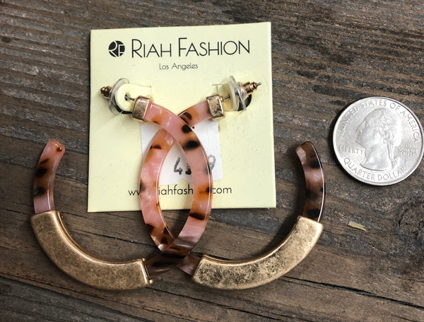 Acetate & Metal Hoop Earrings