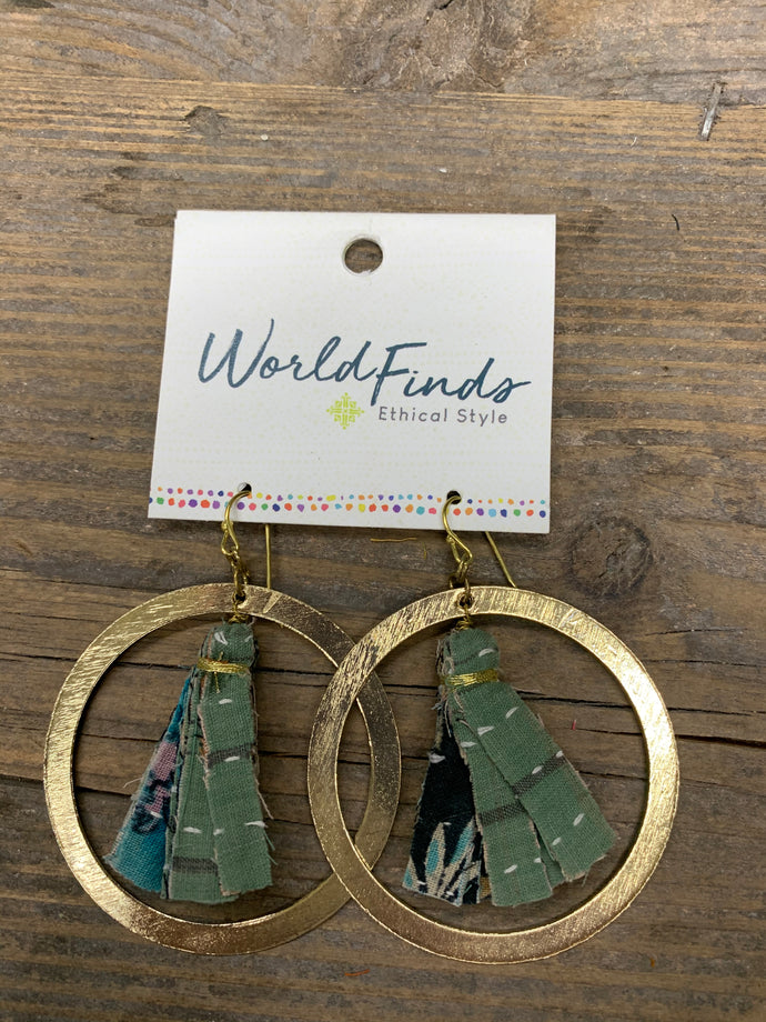 Encircled Kantha Hoop Earrings Style 4