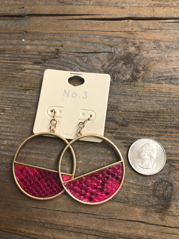 Hot Pink Snake Print Earrings