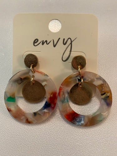 Acrylic Disc Earrings Multicolor