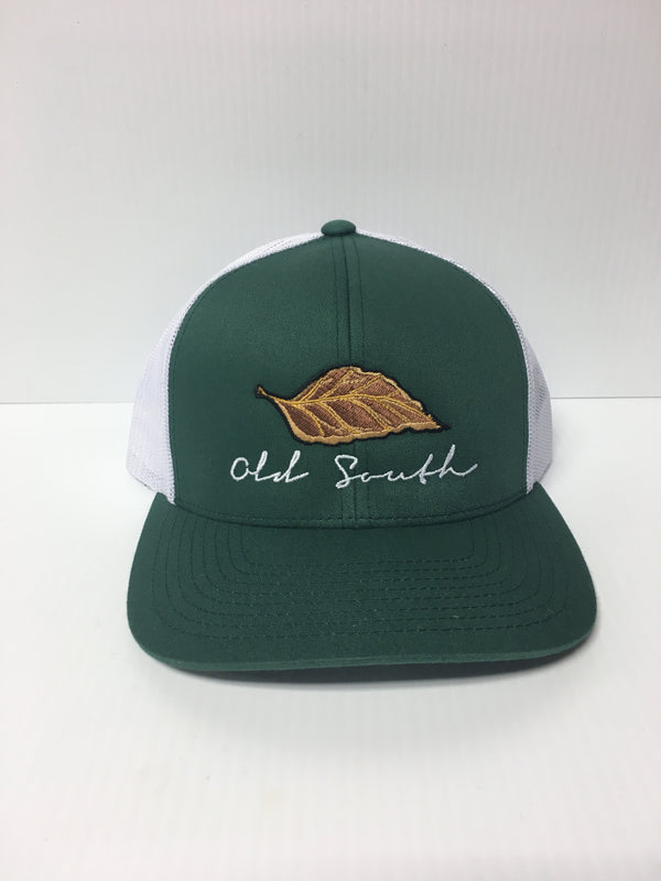 Old South Tobacco Leaf Trucker Mesh Hat Green