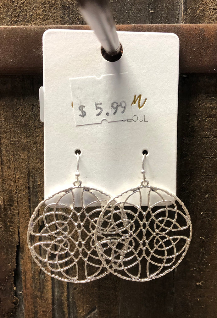 silver trendy earrings