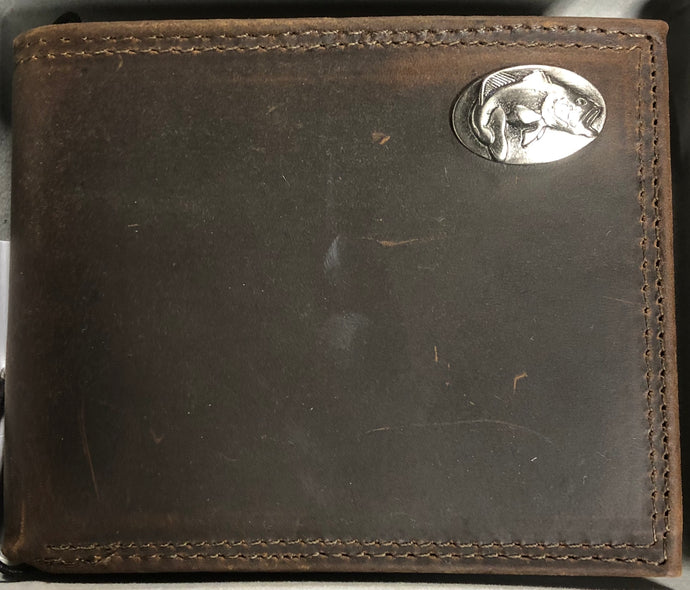Crazy Horse Leather Tri-fold Wallet Bass