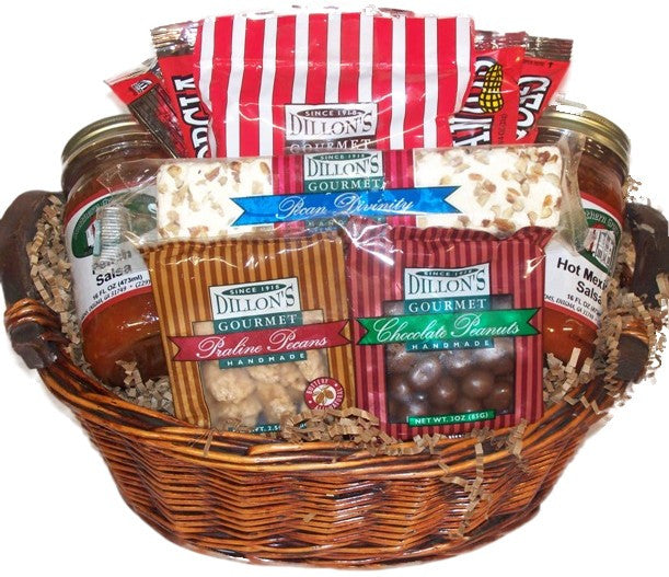 Our Georgia Grown Snack n Salsa Gift Basket is filled with Southern staples such as peanut brittle and praline pecans...and don't forget to add your 2 favorite salsas!