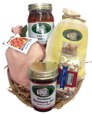Our taste of Georgia gift basket is filled with our Georgia favorites! Peach Salsa, Peach Muffin Mix, Blackberry Jelly and more!