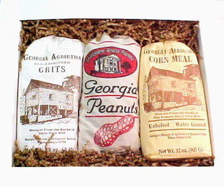 Gift box filled with Georgia Grown peanuts, grits, and corn meal.
