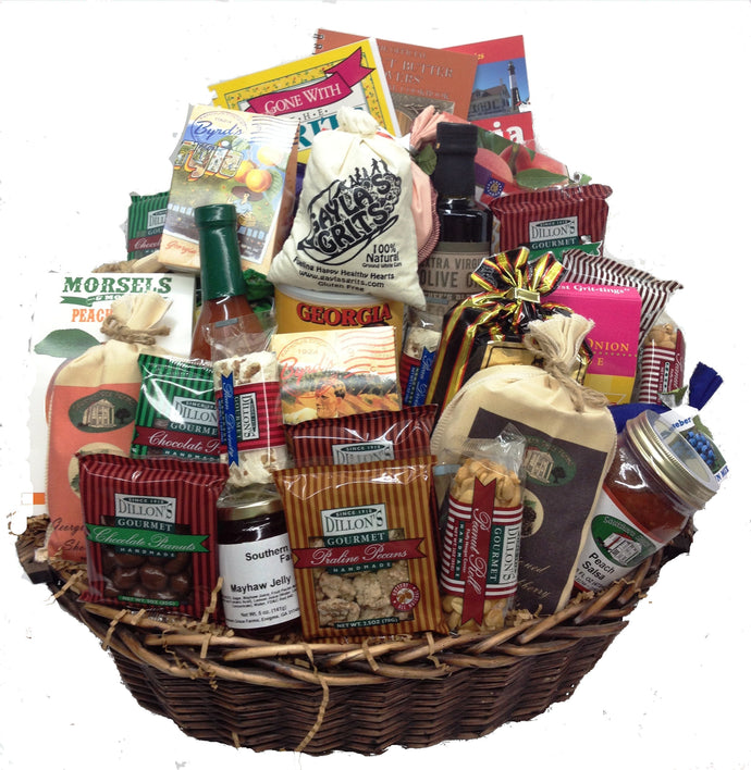 Our Georgia on my mind gift basket is the perfect southern gift to show appreciation and wow your customer or loved one. It's filled with pecan, peanut, peach, vidalia onion, and other Georgia favorites!