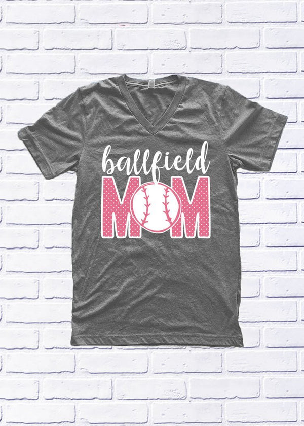Calamity Jane Heather Gray V-Neck Ballfield Baseball Mom Shirt