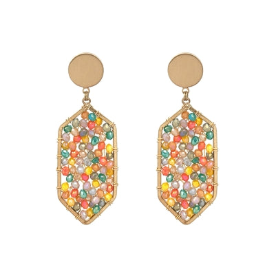 Bright Multi Crystal Wired Hexagon Drop 2