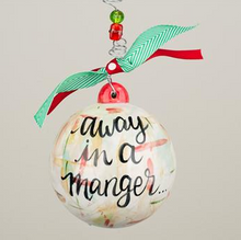 Glory Haus Away in a Manger Christmas Ornament