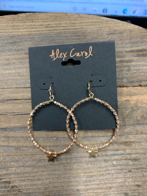 Alex Carol Beaded Star Closed Hoop Dangle Earrings
