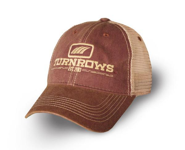Turnrows Hat, maroon mesh trucker hat