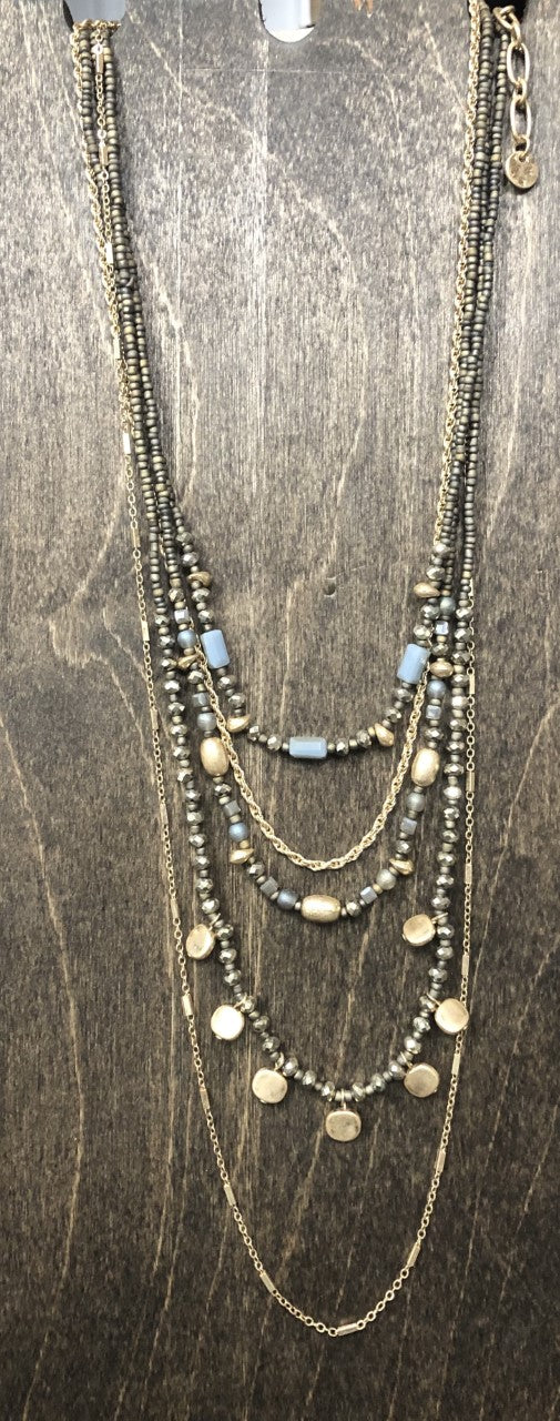 Multi strand Beaded & Gold Necklace Adriana