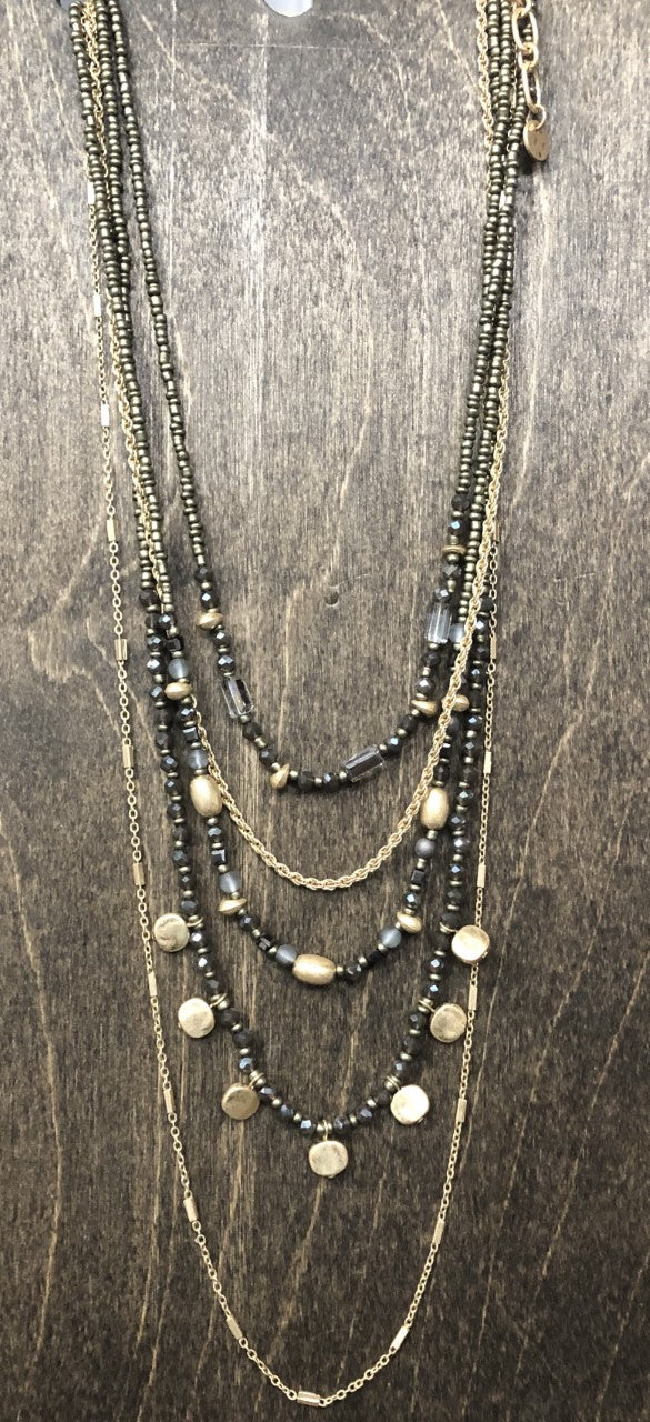 Multi strand Beaded & Gold Necklace Stella