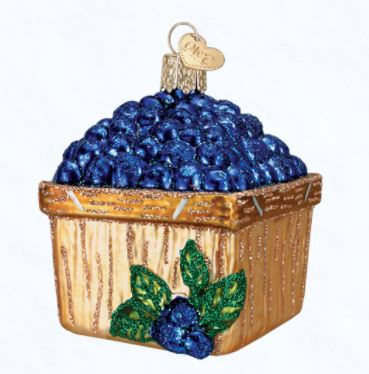 Old World Christmas Basket of Blueberries Ornament