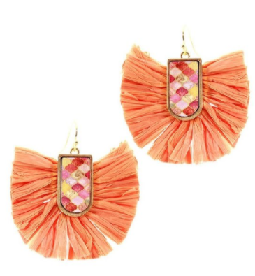 Moroccan Peach Raffia Boho Earrings