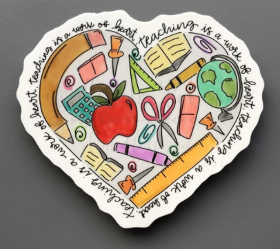 Doodles By Rebekah Teaching Is A Work Of Heart Sticker