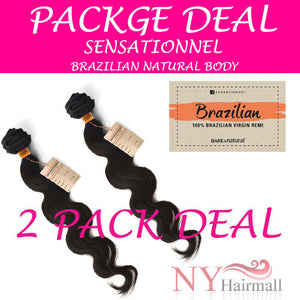 Sensationnel Brazilian Remi Unprocessed bundle hair 2packs Deal - Natural Body wave