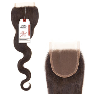 Sensationnel Bare & Natural 100% Virgin Remi 7A 4X4 Lace Closure - BODY WAVE 18""