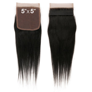 Sensationnel 7A Virgin Human Hair Bleached Knots 5X5 Lace Closure - STRAIGHT 12""