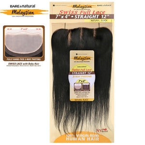 Sensationnel Malaysian Virgin Remy 7X4 Swiss Full Lace 3 Way Parting Closure - STRAIGHT 12""