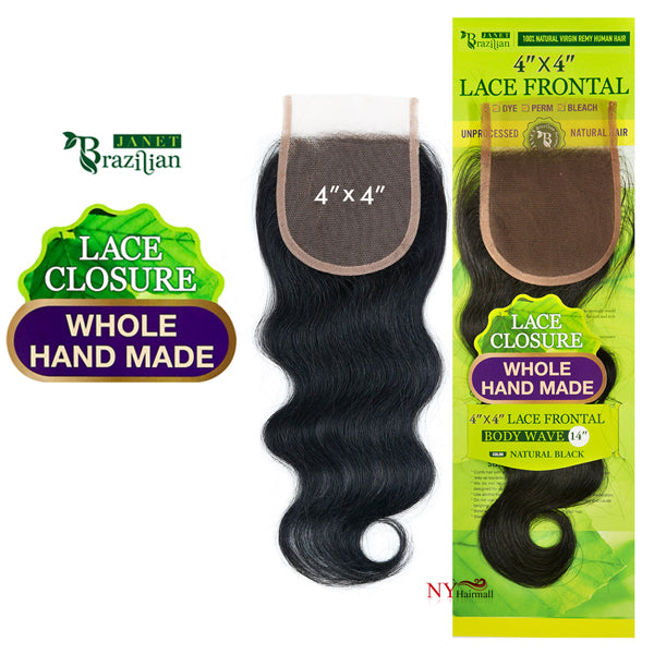 Janet Collection Brazilian Remy Hair 4X4 Lace Closure - BODY WAVE 14""