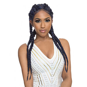 The Wig Pre - Braided Double Dutch Box Human Blend  Lace Front Wig - LH  BRAID WOW