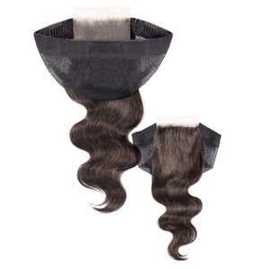 Unprocessed 100% Human Hair 4X4 Closure Cap - BODY WAVE 12""