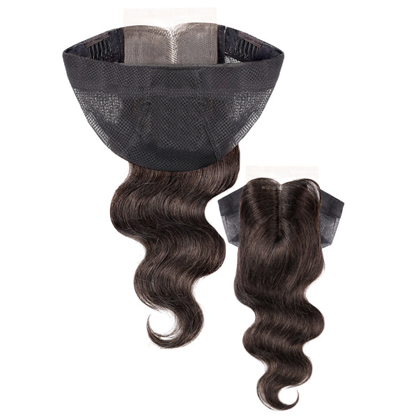 "Unprocessed 100% Human Hair 2.25""X4.5"" Lace Closure Cap - BODY WAVE 12"""