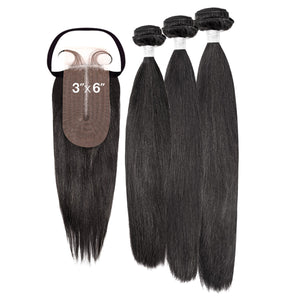 My Tresses Black Label 100% Unprocessed Hair Bundle 3PCS + 3X6 Closure - NATURAL STRAIGHT
