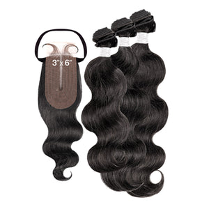 My Tresses Black Label 100% Unprocessed Hair Bundle 3PCS + 3X6 Closure - NATURAL BODY