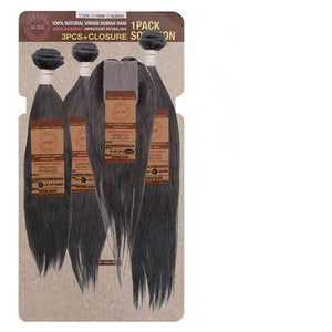 Aliba Natural 100% Unprocessed Brazilian 9S+ Bundle Hair - NATURAL STRAIGHT 3PCS