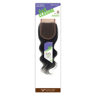 Vivica A Fox 100% Brazilian Natural Remi Human Hair 4x4Closure - BODY 12""