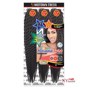 "Motown Tress Crochet Braiding Hair - 3X CUBAN HAVANA TWIST 12"" (CHT.MEGA12)"