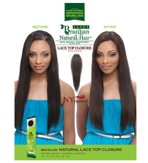 Janet Collection Brazilian Parting Lace Closure 14""