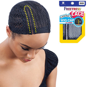 "Freetress 5"" Lace Part Crochet Wig Cap With Combs - BLACK (Right)"