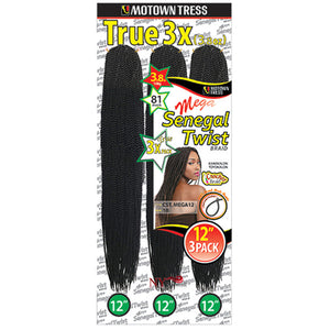 Motown Tress CST. Mega 12 Crochet Senegal Twist MultiPack 12""