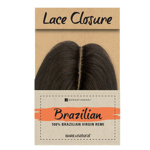 Sensationnel Unprocessed Brazilian Human Hair Bare & Natural L-Shape Part NATURAL YAKI LACE CLOSURE 12""