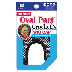 Freetress OVAL Part Crochet Wig Cap With Combs - BLACK