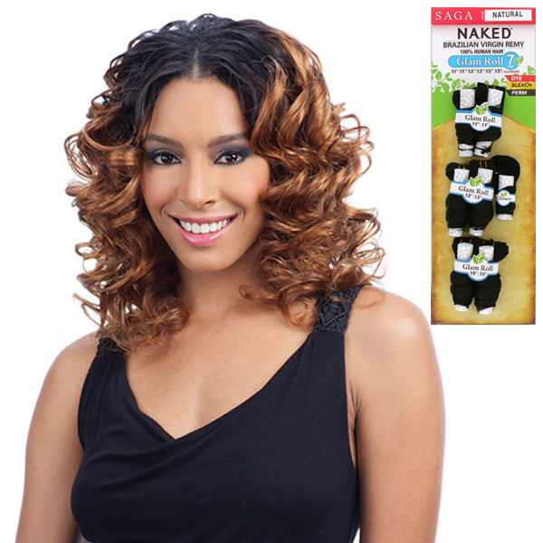 Saga Naked 100% Unprocessed Brazilian Virgin Remy Hair - Glam Roll Long 7PCS