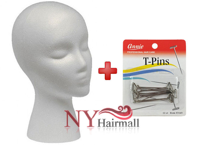 Mannequin Foam Head PLUS Annie T-Pins Combo Pack