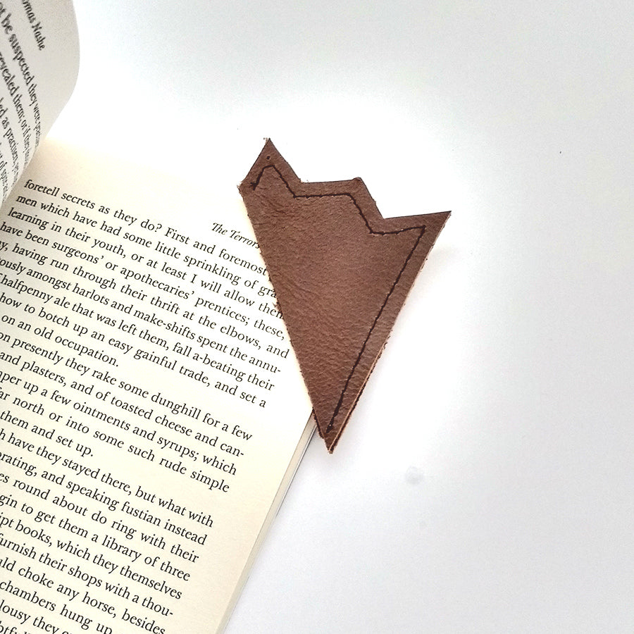 Brown leather bookmark