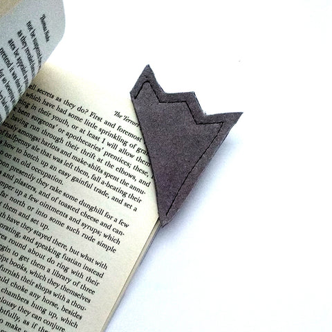 Grey suede leather bookmark