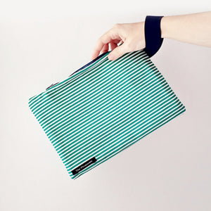 Striped green - Zip clutch bag