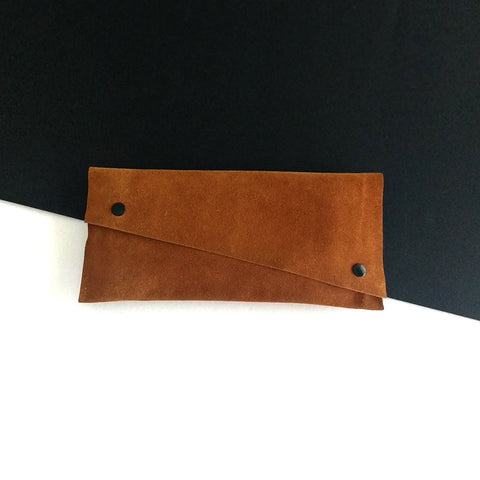 Brown large suede leather case