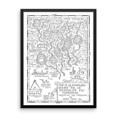 The Riffle Fly Company Wall Art 18×24 Fly Fishermans ideal Estate Map - Vintage 1931