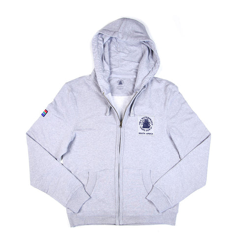 Unisex Hoodie with Zip Grey Melange
