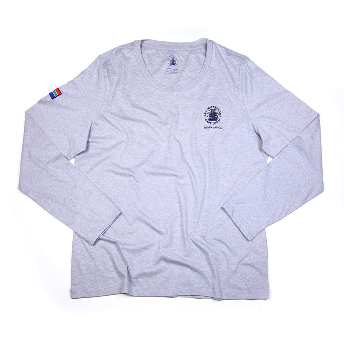 Ladies Long Sleeve Crew Grey Melange