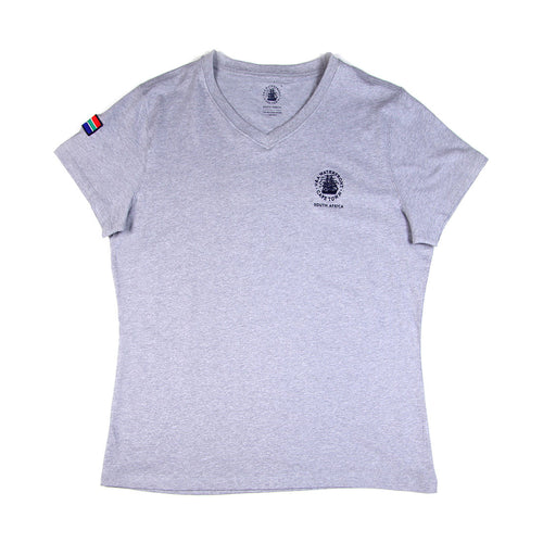 Ladies Short Sleeve V-neck Grey Melange