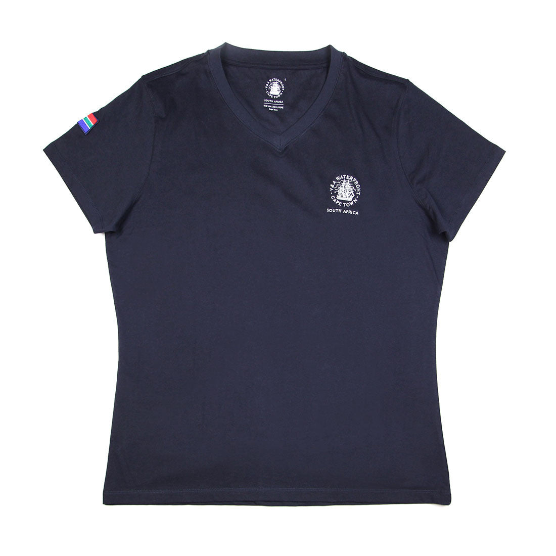Ladies Short Sleeve V-neck Navy